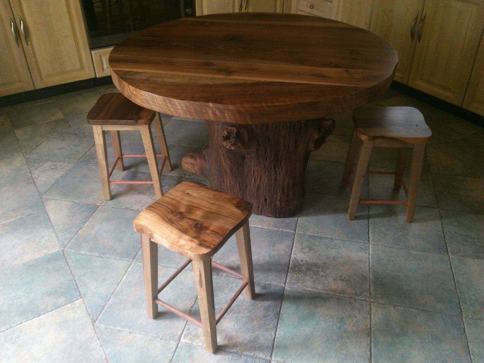 walnut table and stools