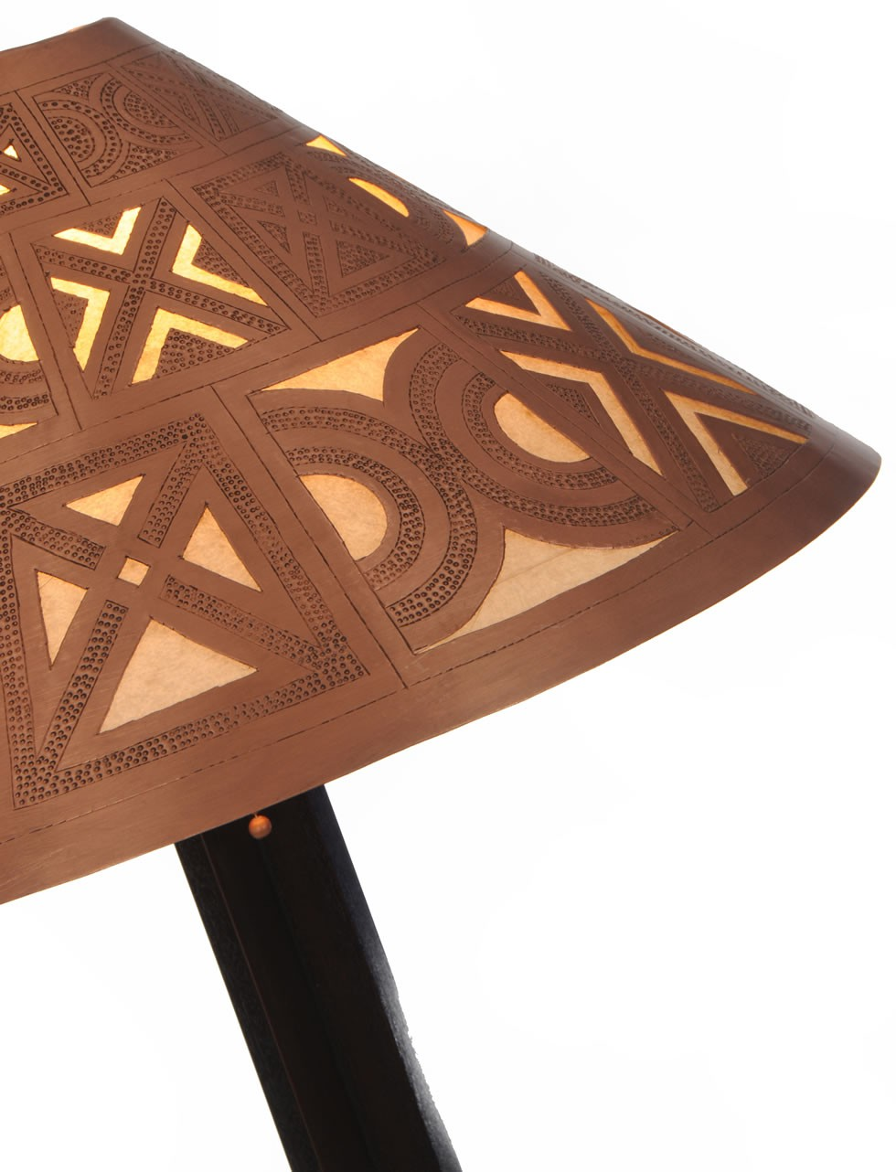 Medina table lamp - handcarved berber shade closeup