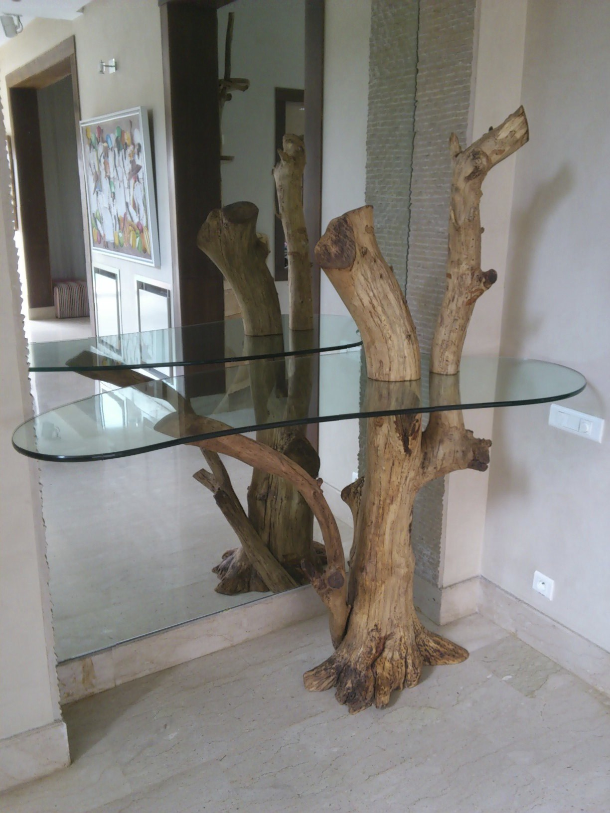 glass & orangewood table - casablanca